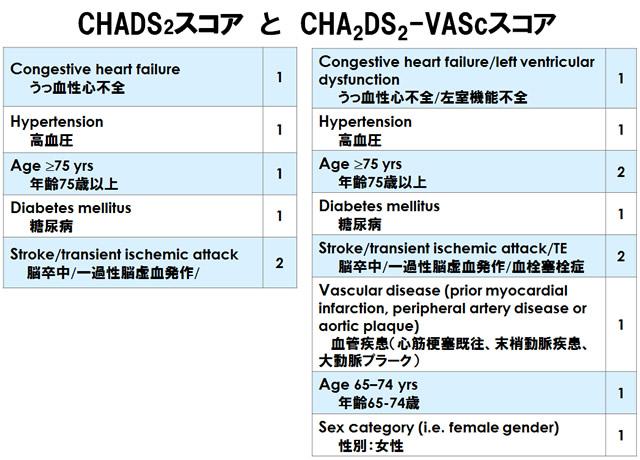 表 CHADS<sub>2</sub>スコア